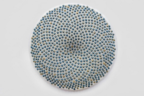 Cosmic Whirl (2015)  View: Installational Materials: 794 wooden spheres, glass fibre rods, teal and gold metallic paints, lacquer, MDF, aluminium tubing, aluminium fixings. Dimensions: 93cm(w) wall-mounted disc x 20.5cm (d)